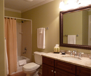 Beach Daze at Emerald Isle on Panama City Beach 2nd full bath with granite counter top and decorative mirror